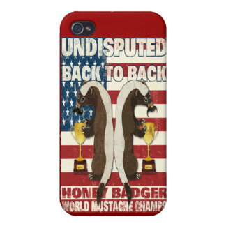 Back to Back Honey Badger World Mustache Champs iPhone 4 Cover