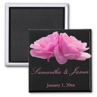 Back to Back Pink Roses Personal Wedding Magnet