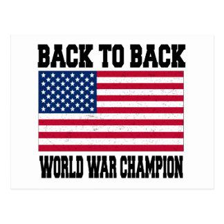 Back to Back World War Champion Postcard