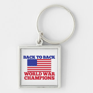 Back to Back World War Champions Silver-Colored Square Keychain