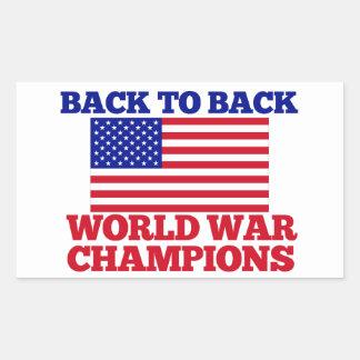 Back to Back World War Champions Rectangular Sticker