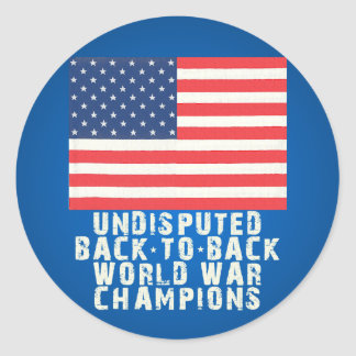 Back to Back World War Champions Round Stickers
