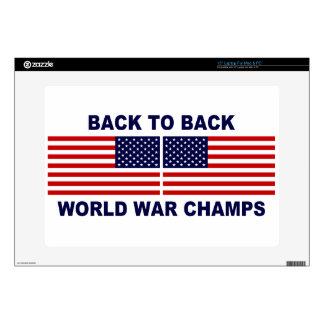 Back To Back World War Champs American Flag Laptop Skins