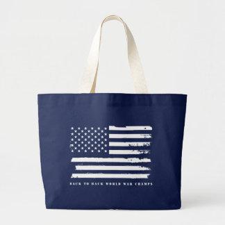Back to Back World War Champs, American Flag Large Tote Bag
