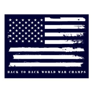 Back to Back World War Champs, American Flag Postcard