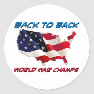 Back to Back World War Champs Classic Round Sticker