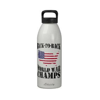 Back-to-Back World War Champs - Patriotic Reusable Water Bottles