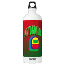 Back to go school with background aluminum water bottle