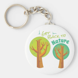 Back To Nature Basic Round Button Keychain