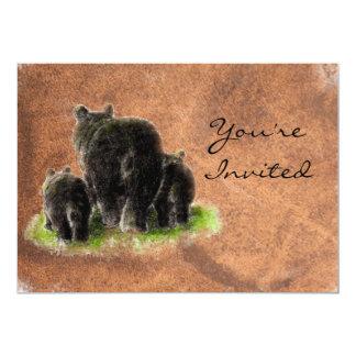 Back to Nature Black Bears Animal Birthday Invite