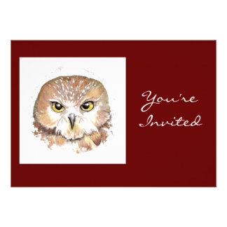 Back to Nature Owl Birthday Party Announcements