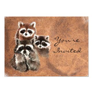 Back to Nature Raccoons Animal Birthday Invite