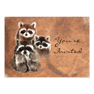 "Back to Nature Raccoons Animal Birthday Invite 5"" X 7"" Invitation Card"