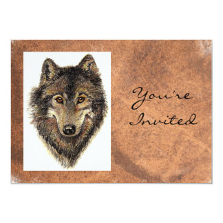 "Back to Nature, Wolf, Animal Birthday Invite 5"" X 7"" Invitation Card"