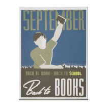 Back to School and Books WPA Poster Wrapped Canvas