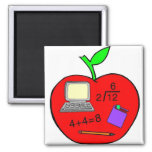 Back To School Apple 2 Inch Square Magnet