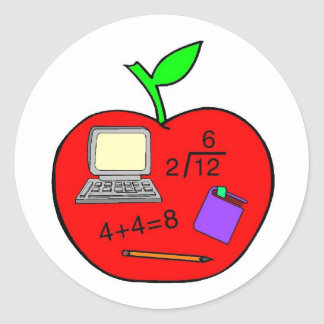 Back To School Apple Classic Round Sticker