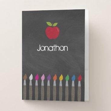 Beach Themed Back to School Apple Rainbow Paintbrush Chalkboard Pocket Folder