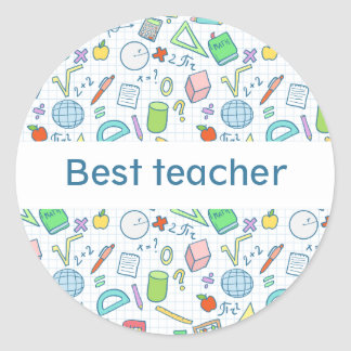 "Back to school: ""Best teacher"" sticker (editable)"