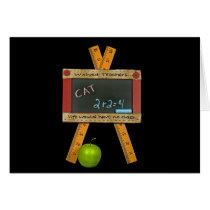 Back to School black chalkboard and apple