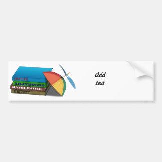 Back to School Book Stack w/Leaning Cap Bumper Sticker