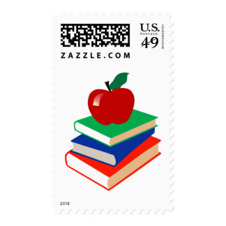Back to School, Books and Apple Stamp