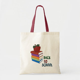 Back to School-Books+Apple Tote Bags