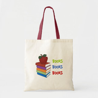 Back to School-Books+Apple Tote Bag