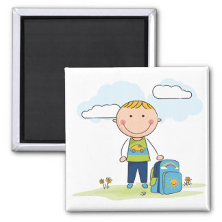 Back to school Boy 2 Inch Square Magnet