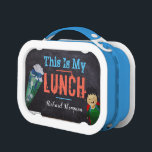 """Back To School Boy ABC Black Board Personalized Lunch Box<br><div class=""""desc"""">A black board with a drawing of a cartoon ice cream with ABC and a boy with the words &quot;this is my lunch&quot;. It can be personalized by adding the name of the kid or the name of your child.</div>"""