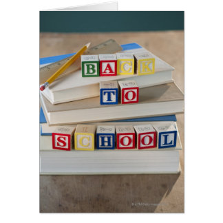 Back to school building blocks on stacked books card