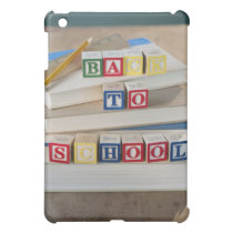 Back to school building blocks on stacked books cover for the iPad mini