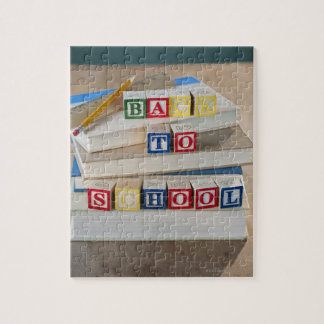 Back to school building blocks on stacked books jigsaw puzzle