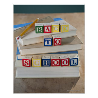 Back to school building blocks on stacked books poster