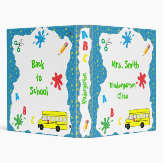 Back to School Bus Binder Blue Stars