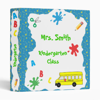 Back to School Bus Binder Blue Stars 1