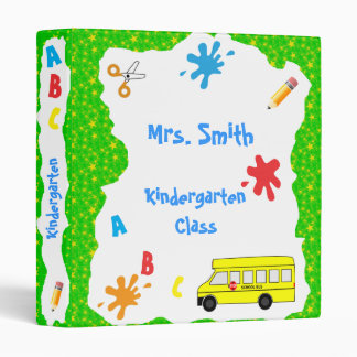 Back to School Bus Binder green stars