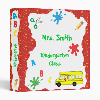Back to School Bus Binder Red Stars