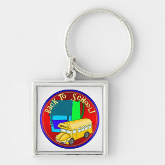 Back To School Bus & Blue Backpack Keychains