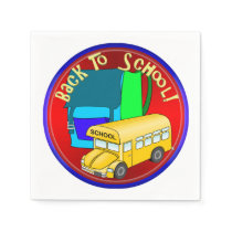Back To School Bus & Blue Backpack Napkin