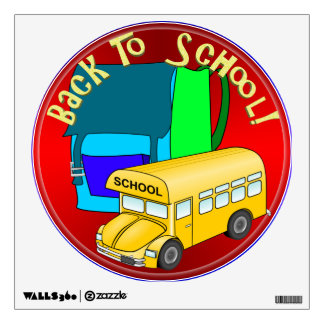 Back To School Bus & Blue Backpack Room Sticker