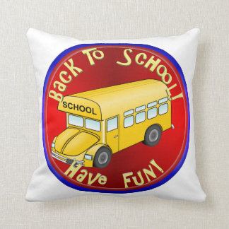 Back To School Bus - Have Fun Throw Pillow