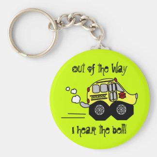 Back to School Bus Basic Round Button Keychain