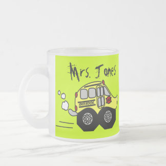 Back to School Bus 10 Oz Frosted Glass Coffee Mug