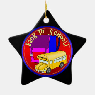 Back To School Bus & Pink Backpack Ceramic Ornament