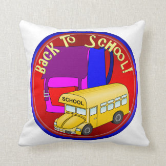 Back To School Bus & Pink Backpack Throw Pillow