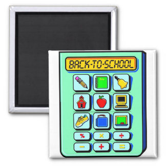 Back To School Calculator 2 Inch Square Magnet