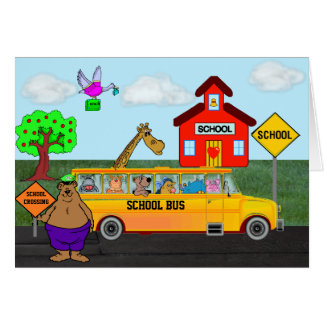 """""""Back To School"""" Card w/Funny Animals on Bus"""