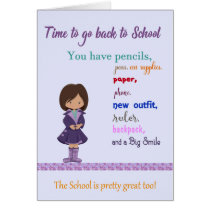 Back to School Card, Young Girl Illustration Card