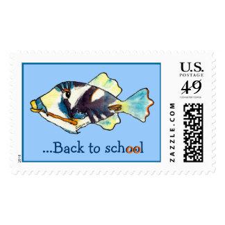 Back To School Cartoon Fish Postage